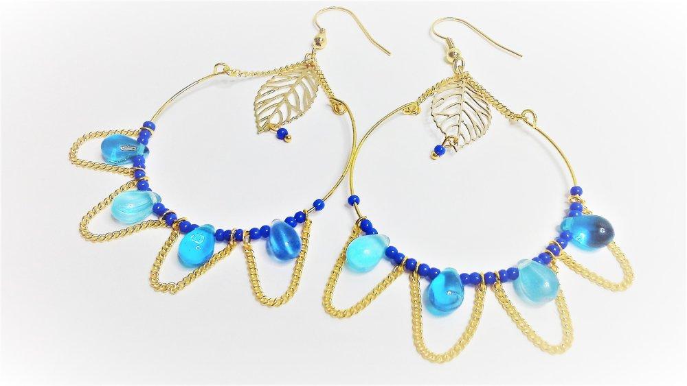 grandes créoles,boucles d'oreilles , bleues ,marine ,dorées