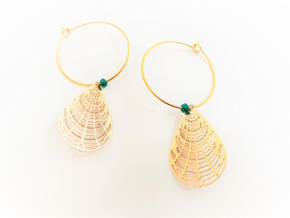 créoles ,anneaux ,création minimaliste ,vertes ,goutte