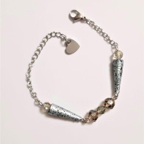 Bracelet  fantaisie perles cônes papier gris - perles facettées grises