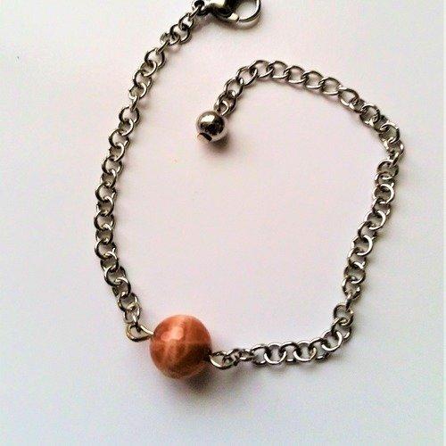 Bracelet fantaisie perle en pierre minérale pierre du soleil facettée