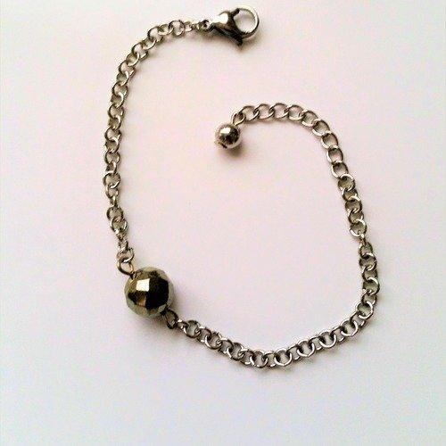 Bracelet fantaisie chaine maille rolo en acier perle pierre de gemme facettée pyrite