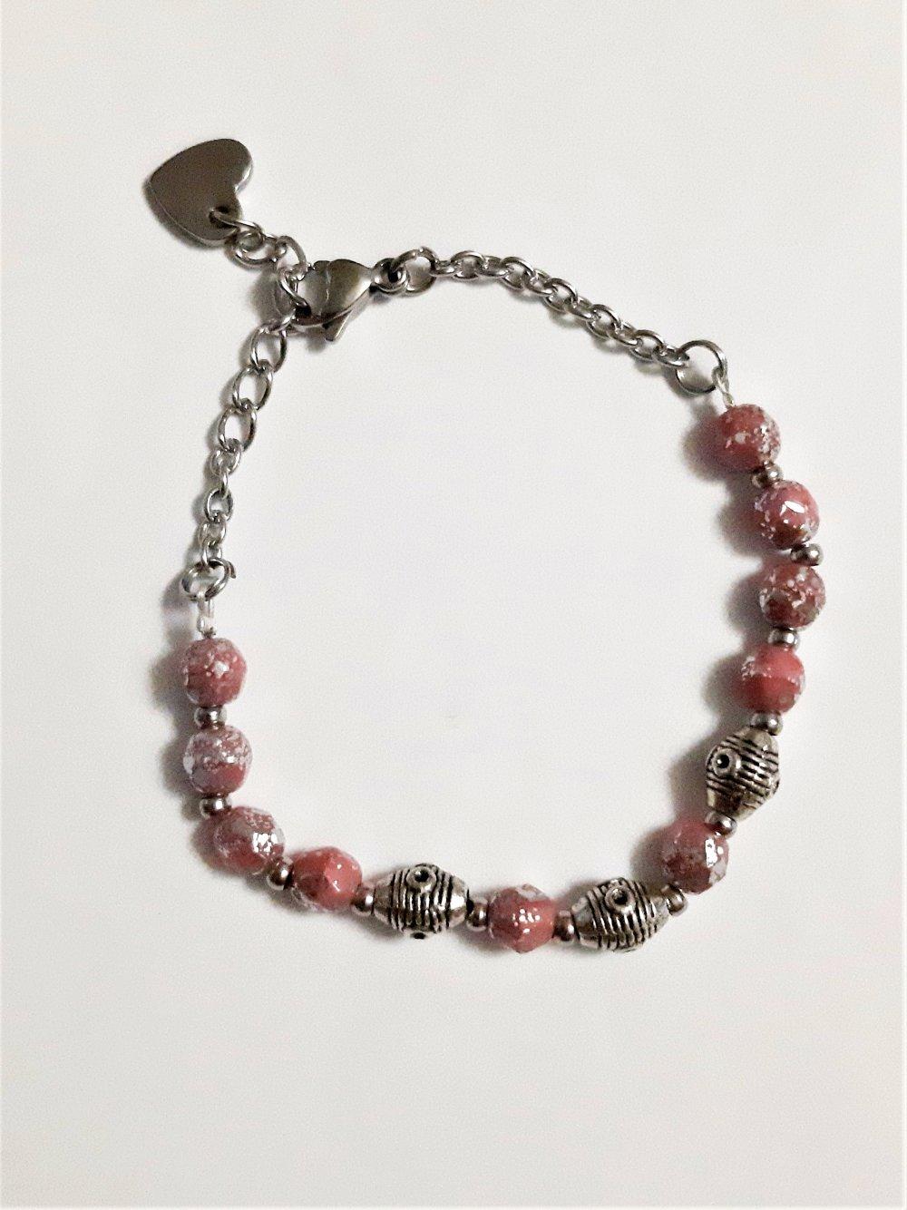 bracelet fantaisie acier, perles bohème ethnique