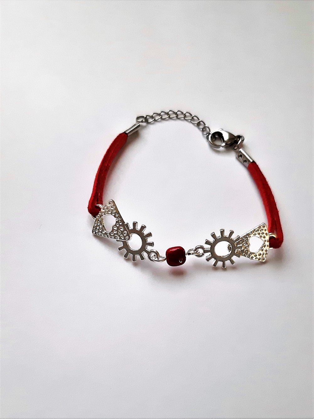 bracelet femme perles rouge