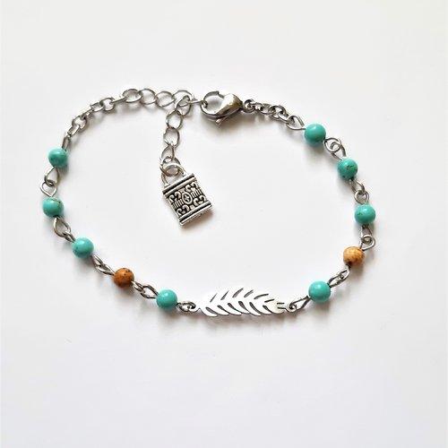 Vendu bracelet pierres minérale connecteur plume acier