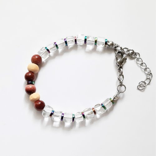 !! ?? !! bracelet  perles en pierre minérale