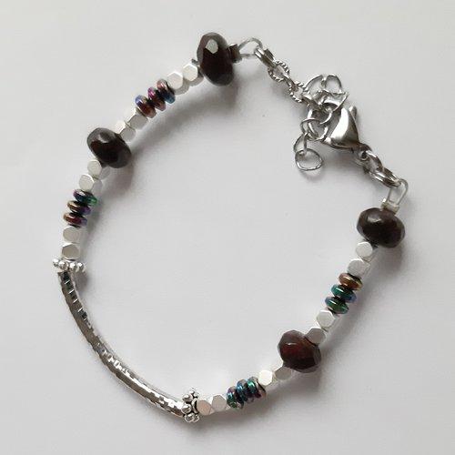 Bracelet perle tube strié fantaisie et perles