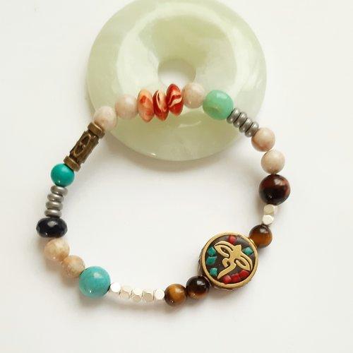 Vendu bracelet  perles en pierre minérale différentes pierres