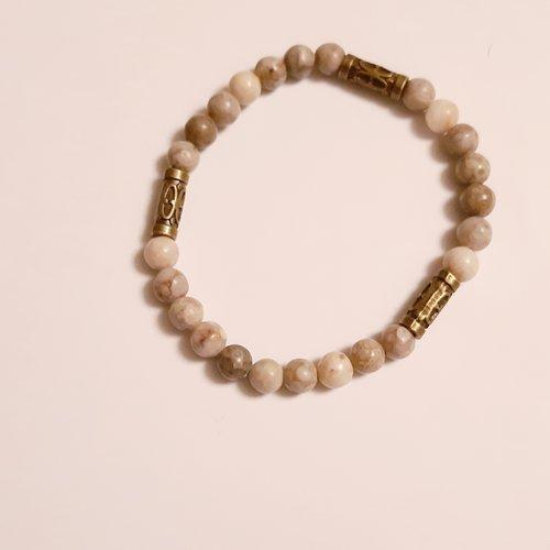 Bracelet homme perles en pierre minérale monté sur élastique