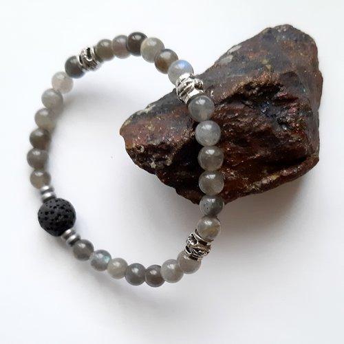 Bracelet  perles en pierre minérale labradorite pour homme