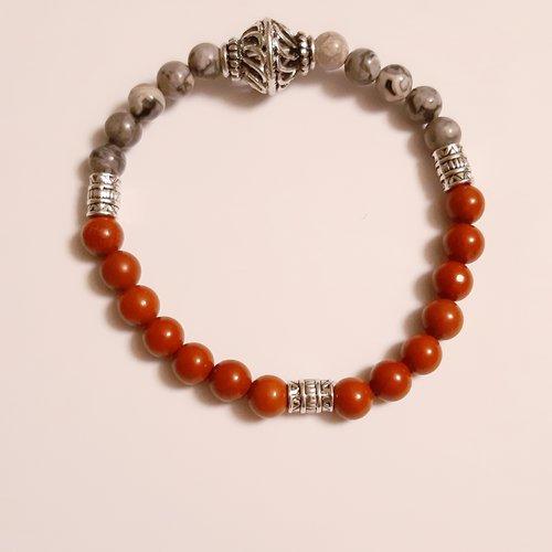 H stock bracelet homme perles en jaspe