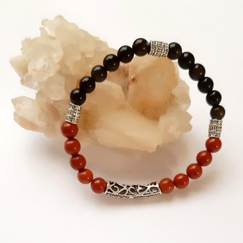 Bracelet homme perles en jaspe rouge et obsidienne doré