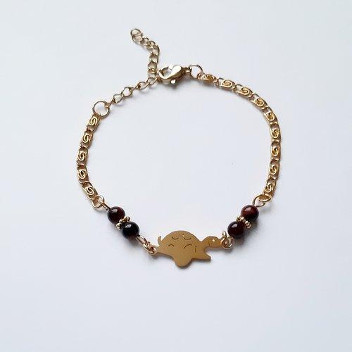 Bracelet tortue acier doré perles pierre de gemme