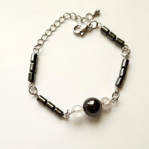 Bracelet femme perles en pierre minérale hématite