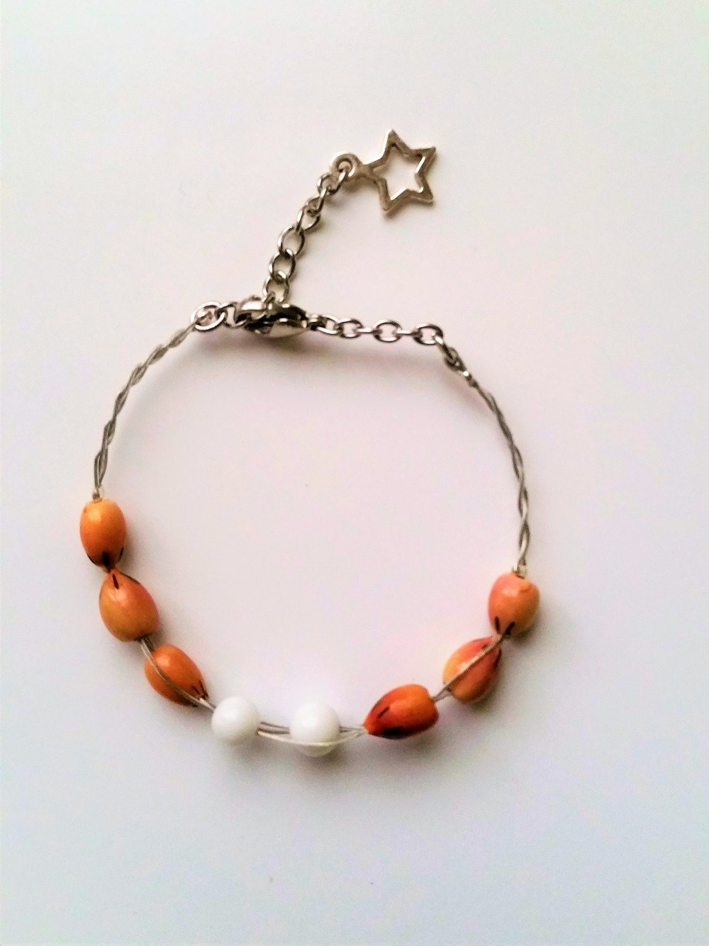 bracelet perles bois pierre minérale onyx blanc