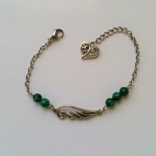 Vendu bracelet  chaine acier connecteur aile d'ange perles pierre malachite