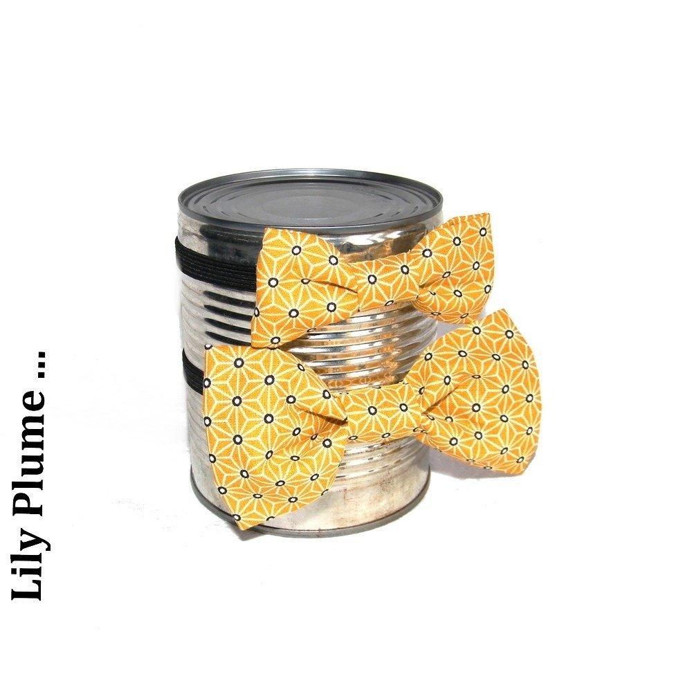 Nœud PAP' Père & fils géométrie jaune moutarde et noir