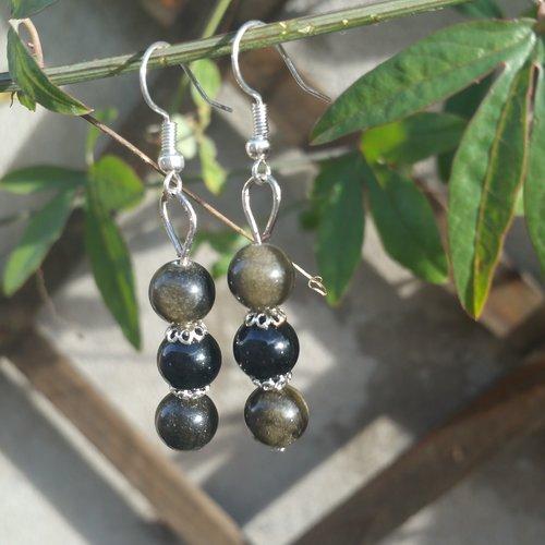 Boucle d'oreilles pendantes obsidienne dorée et obsidienne noire