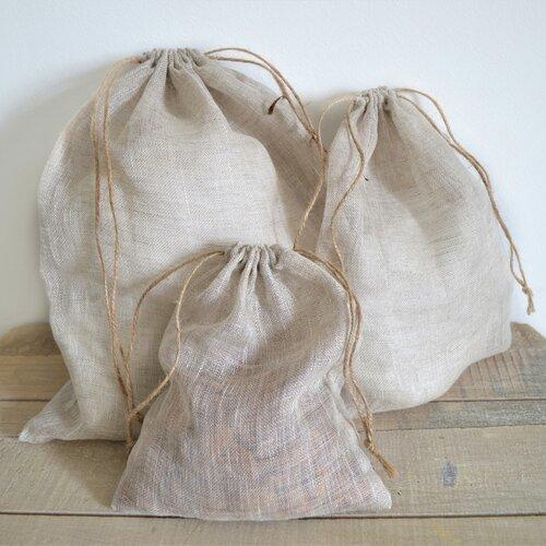 4 sacs à vrac en lin biologique zéro déchet