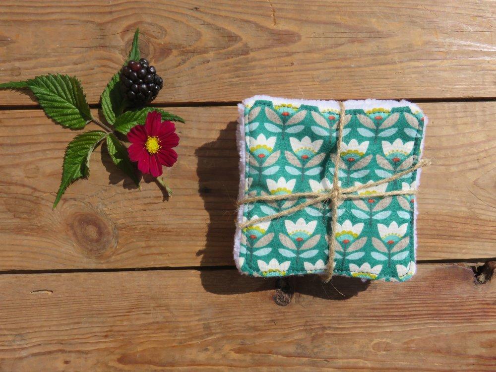 Lingette/coton lavable Fleur vintage / bambou blanc