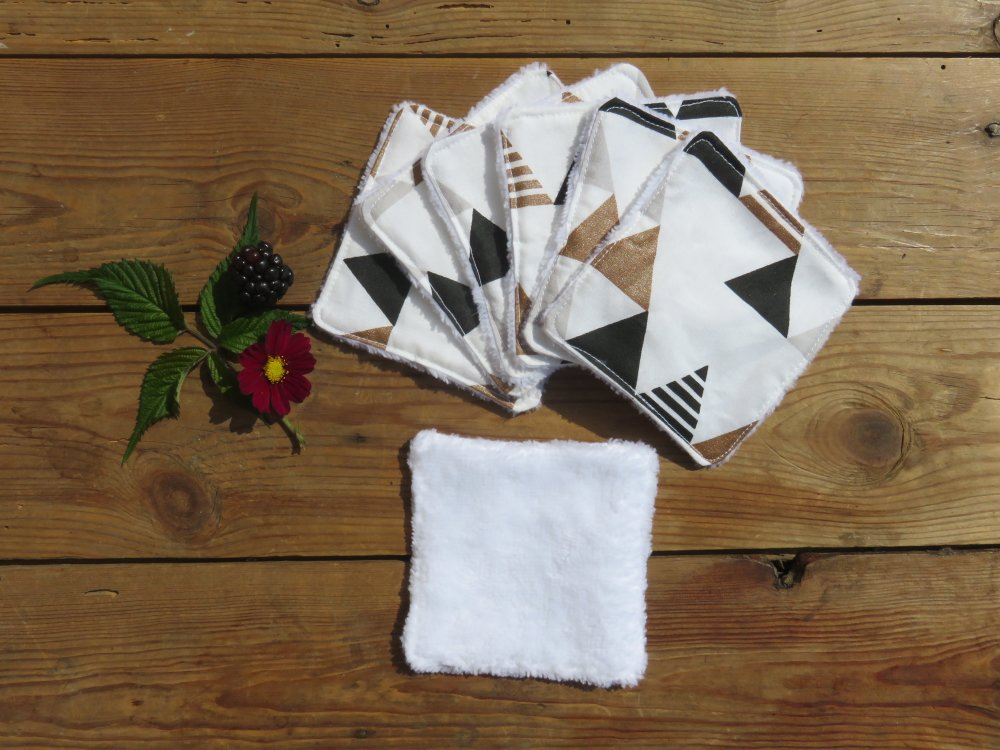 Lingette/coton lavable Triangle bronze et noir / bambou blanc