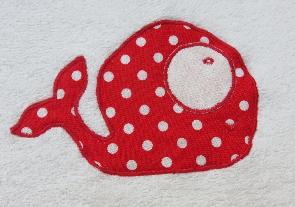 Bavoir baleine rouge à pois