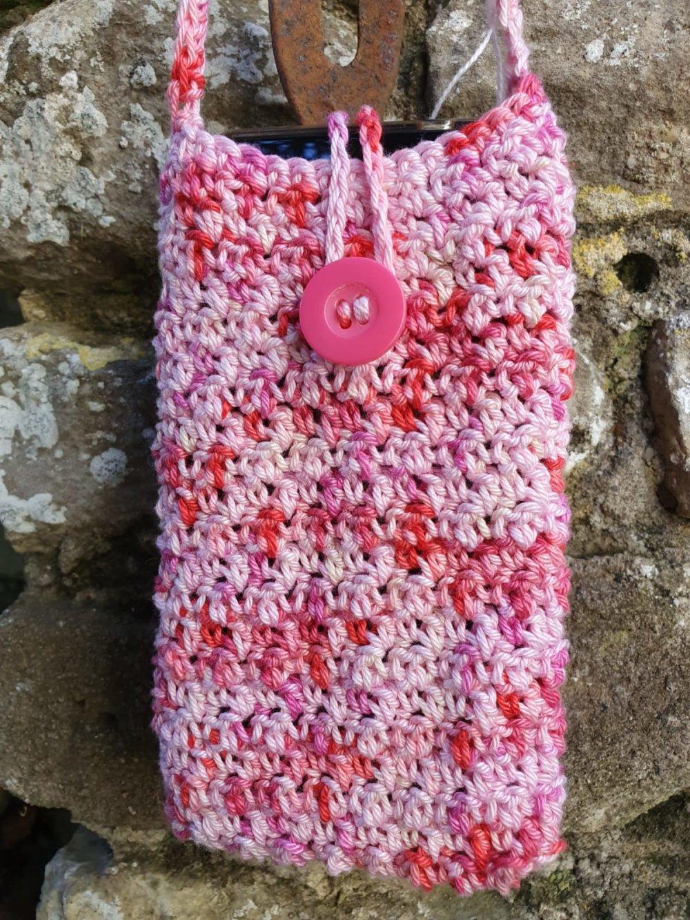 Pochette porte téléphone, tour de cou en coton