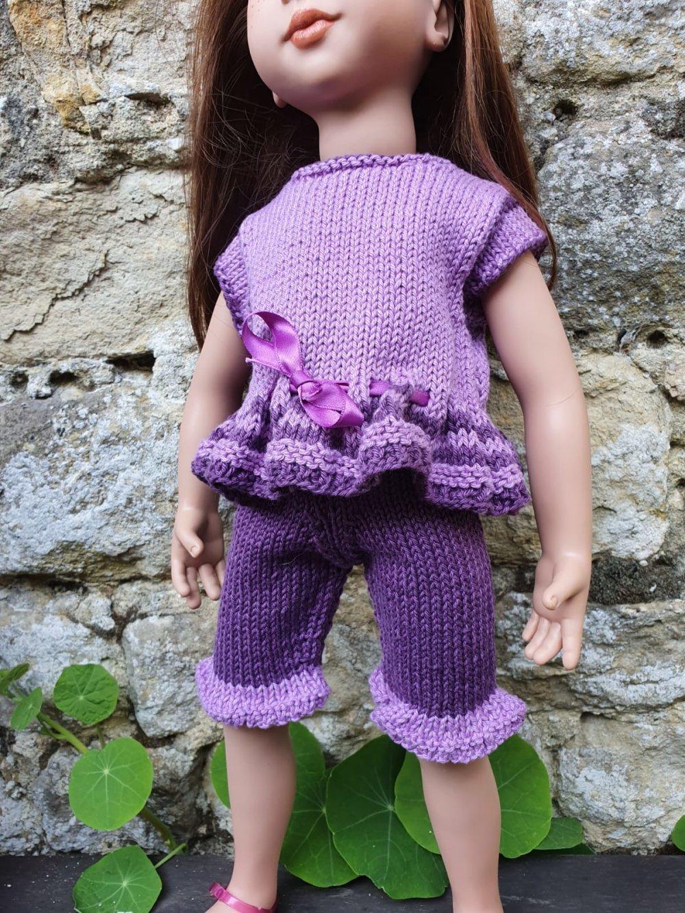 Ensemble deux pièces en coton pour poupée type Zwergnase 50cm