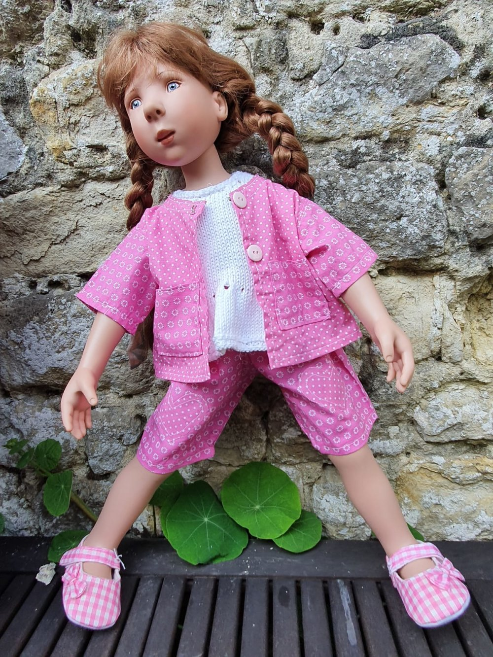 Ensemble trois pièces pour poupée genre Zwergnase 55cm