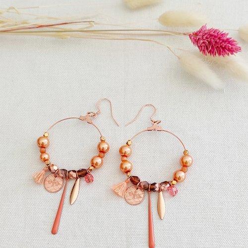 Boucles d'oreilles créoles abricot