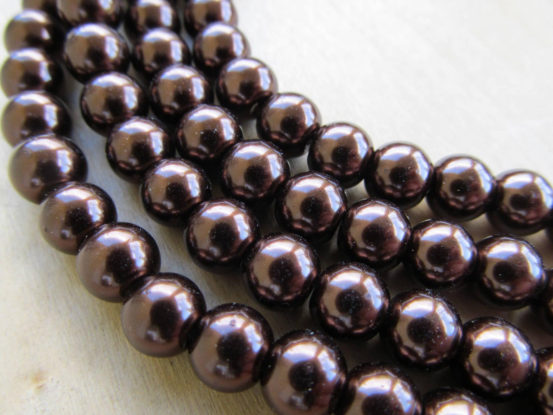 Lot de 10 perles de 8 mm de diamètre, en verre nacré de couleur: chocolat.