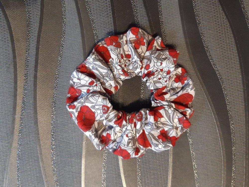 Chouchou simple fleuri noir/rouge