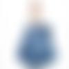 Sac cabas jean bleu souple intérieur toile imprimé feuilles de ginko