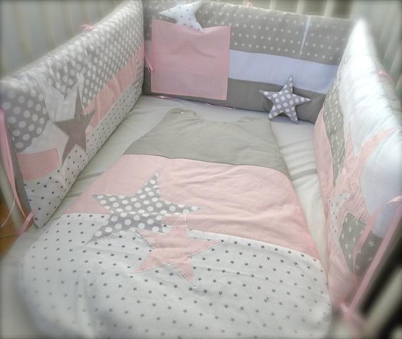 Tour de lit Etoiles rose et gris perles