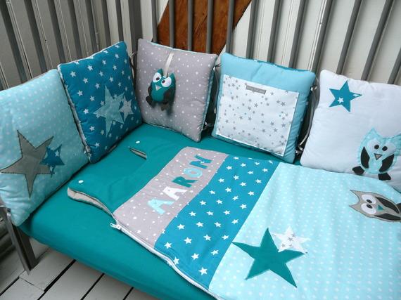 Gigoteuse 6-24 mois chouette et étoiles Bleu Turquoise, Bleu Canard et gris