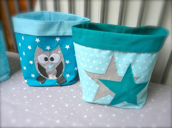 Pochons chouette et étoiles bleus turquoises et canard, gris (x2)