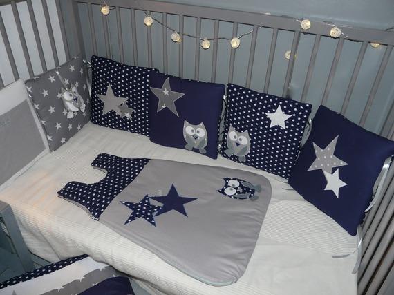 Gigoteuse/ turbulette 0-6 mois Chouettes et étoiles Bleu nuit et gris