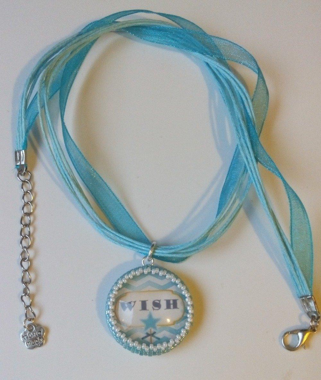 """Collier Cabochon Perlé Avec Message """"Wish"""" - Bleu Turquoise Transparent Blanc Organza"""