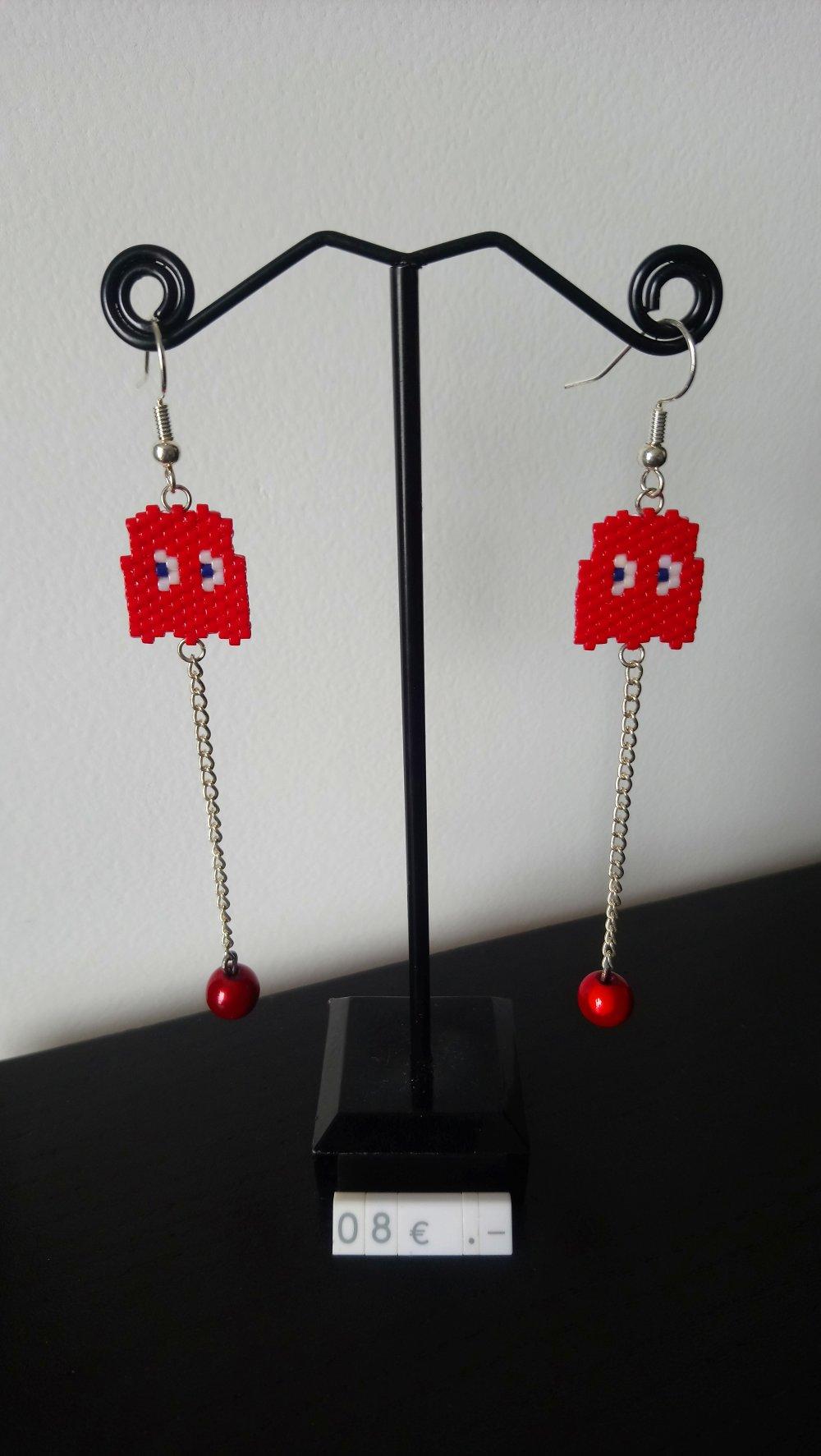 """Boucles d'oreilles Inspiration Jeux Videos """"Blinky"""" Fantome Rouge - Perles Tissées A La Main Et Perles Fantaisies"""