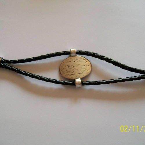 Bracelet homme cuir noir intercalaire zamak