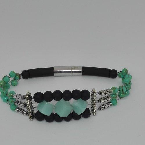 Bracelet homme  cube amazonite naturelle ,perles noir givré en verre dépoli, perles ronde turquoise ,cylindre style bali