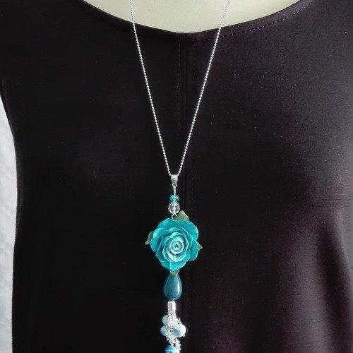 Sautoir ,  collier , pendentif , rose bleu en pâte polymère, fimo perles swarovski