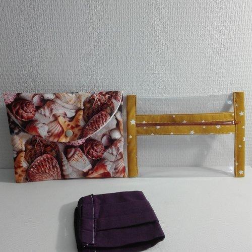 Pochettes a masques lavables  1 en vinyle pour le sale et pochette tissu pour le propre