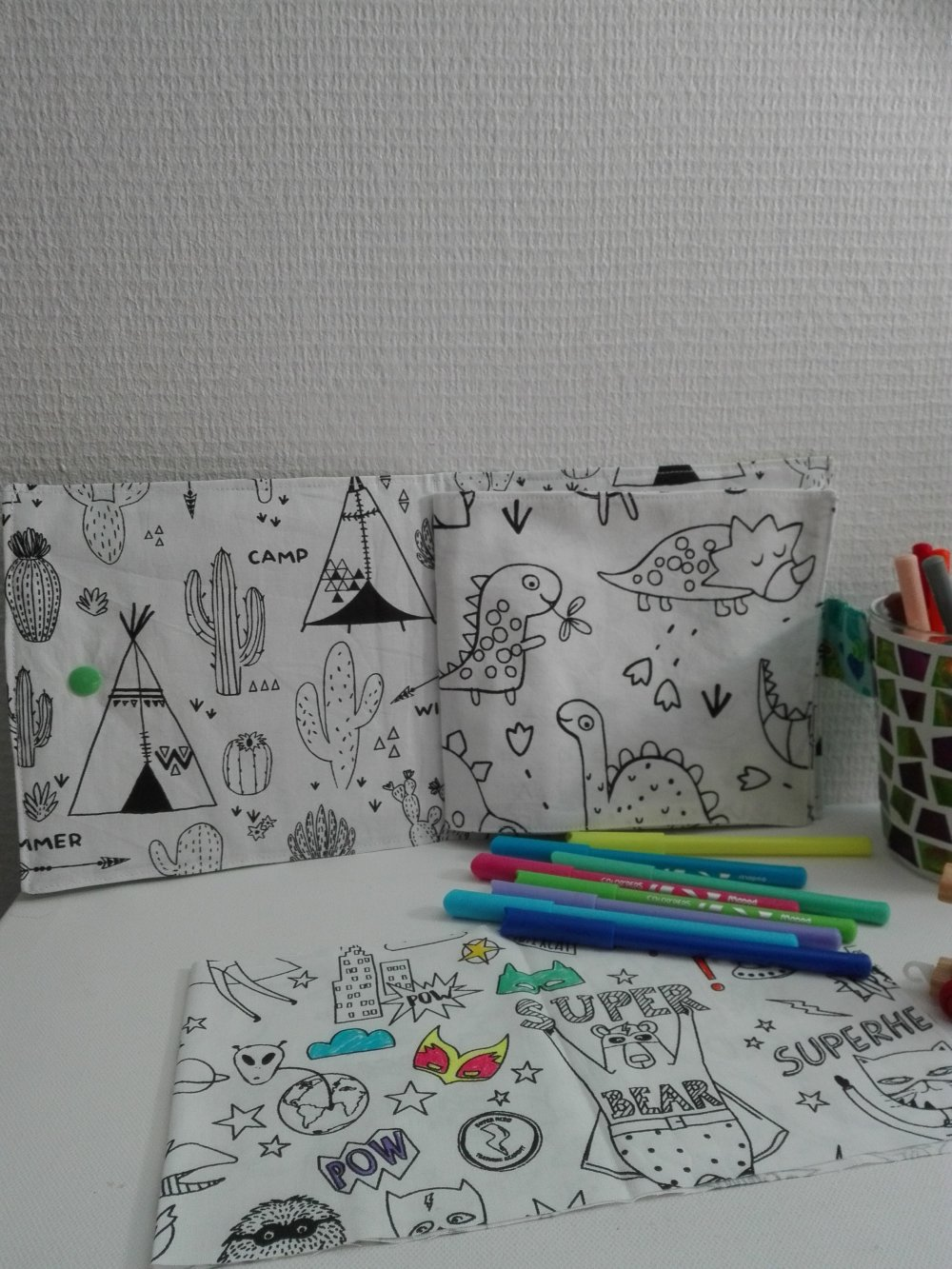 Carnets / Cahier de coloriage en tissu lavable