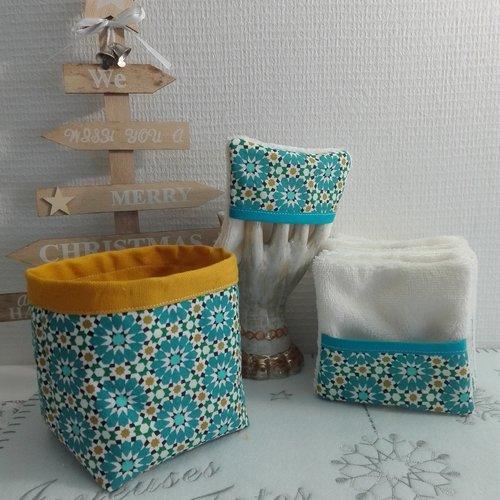 10  lingettes - lavables  + panier réutilisable / zéro déchets