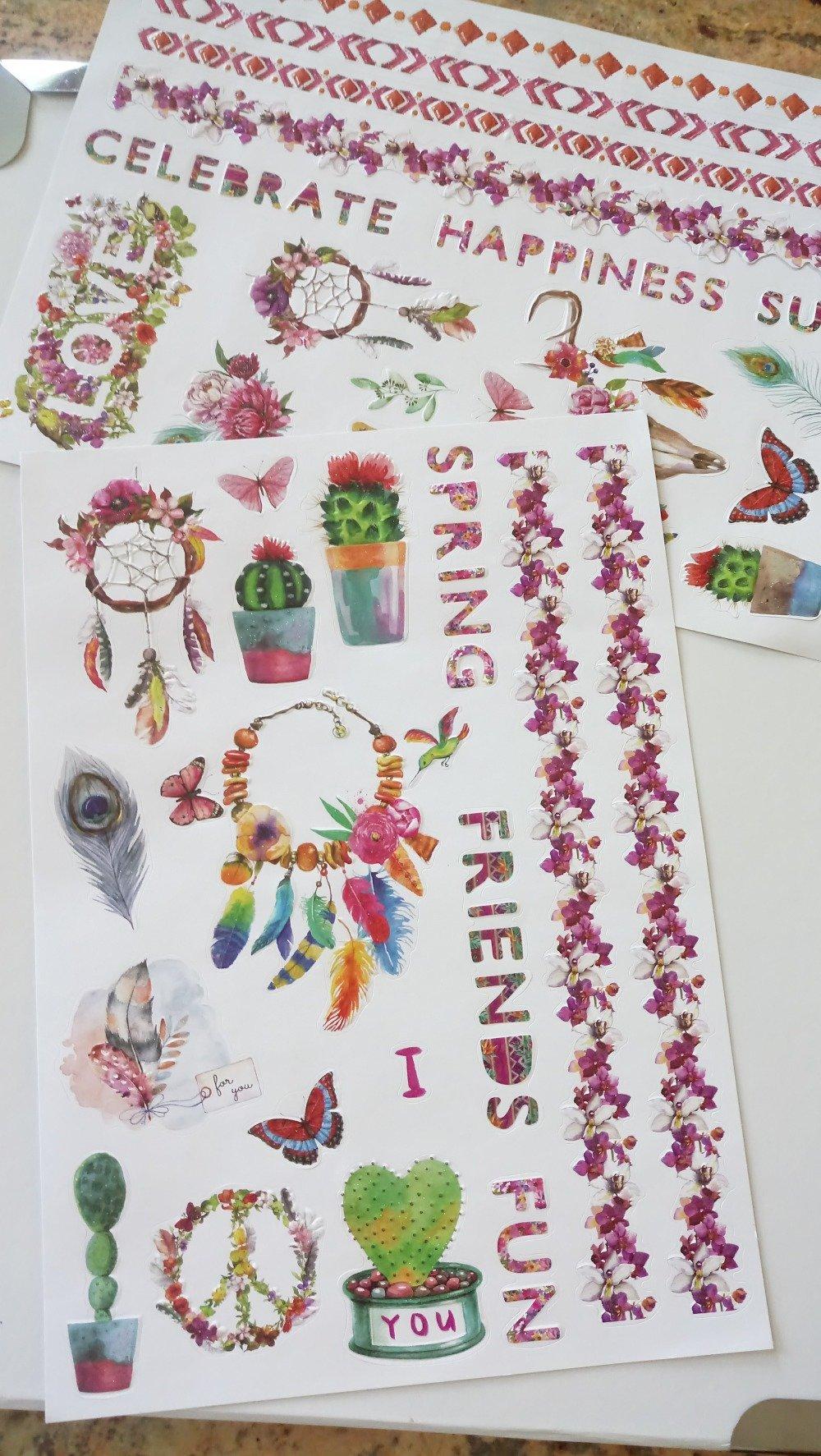 Vendu-Stickers 3D écritures & attrape-rêves 2 planches pour carterie,embellissement
