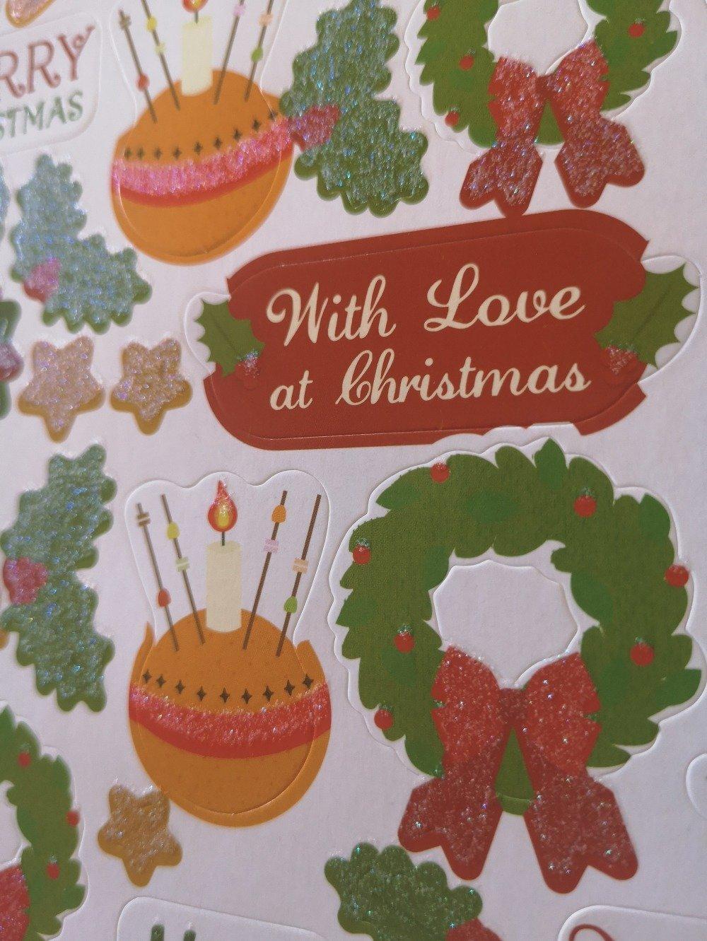 Stickers planche 3D/décoration Noël/pailleté/ pour carterie,embellissement