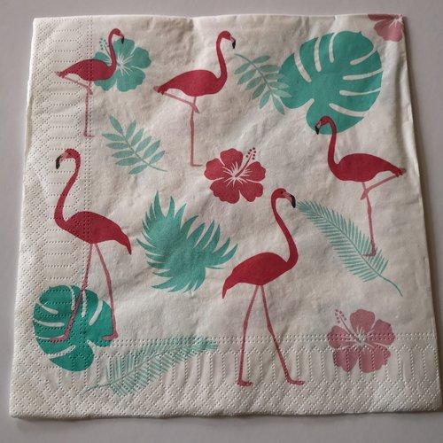 """Serviettes en papier thème """"oiseaux /flamands roses """""""