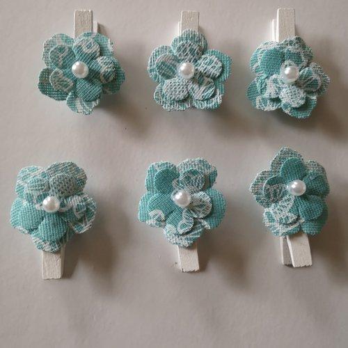 Épingles à linge fleurs en tissu x6