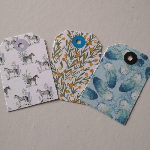 Étiquettes x3 motifs plumes/fleurs /zèbres /chevaux