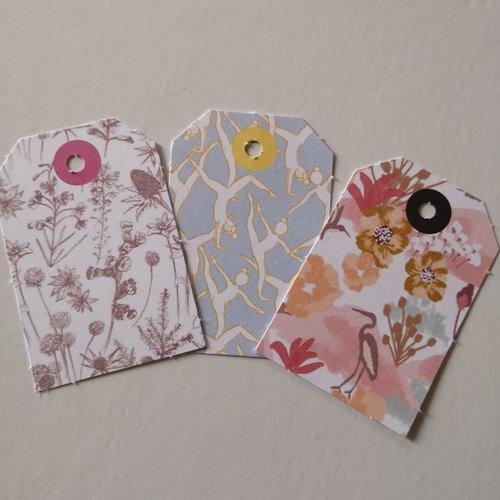 Étiquettes x3 motifs silhouettes /fleurs